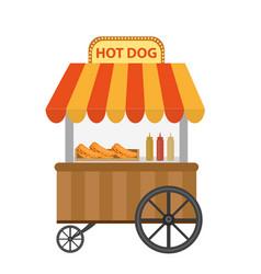 hot dog street shop cart icon flat cartoon vector image