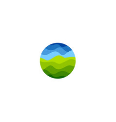 isolated abstract green and blue color round shape vector image