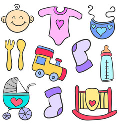 Doodle of element toys for baby vector