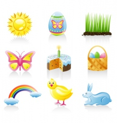 Easter icon set vector image vector image