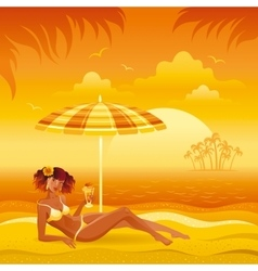 Evening beach background with beautiful tan girl vector image vector image
