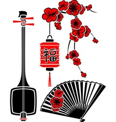 Set of Japanese art shamisen sakura fan and light vector image vector image