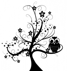 tree with owl vector image vector image