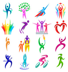 abstract people body shapes icons modern concept vector image