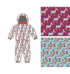 Democrat baby Childrens clothing Donkey seamless vector image