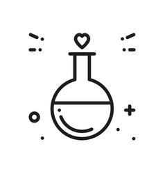 love chemistry line icon test tube love fluid vector image