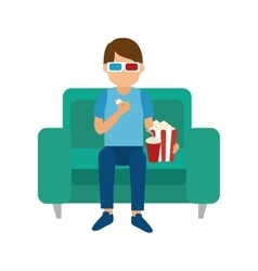 man eating popcorn vector image