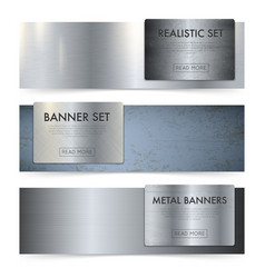 metal sheets texture realistic banners set vector image