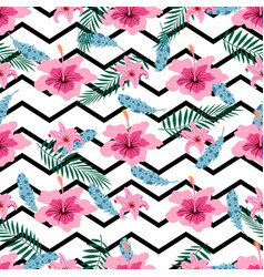 pattern with pink flowers vector image vector image
