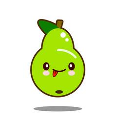 pear fruit cartoon character icon kawaii flat vector image vector image