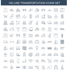 100 transportation icons vector
