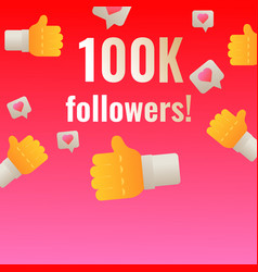 100k followers thank you post banner template for vector image