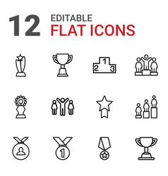 12 trophy icons vector