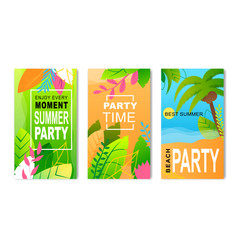 Advertising flyers set inviting to summer party vector