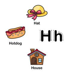 Alphabet letter h-hat hotdog house vector