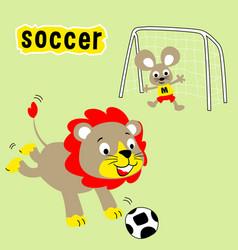 Animals cartoon playing soccer vector