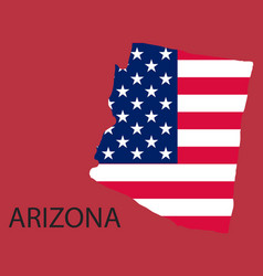 Arizona state of america with map flag print on vector