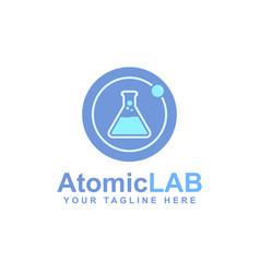 Atomic logo design electron particles vector