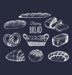 Bakery products setbread collectionhand drawn vector