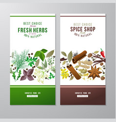 Banners with herbs and spices vector