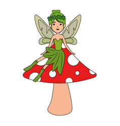 beautiful fairy in mushroom character vector image