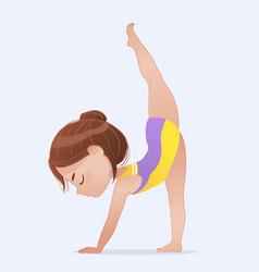 Beautiful girl doing standing split pose vector