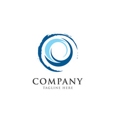 blue wave logo designabstract circle logo design vector image