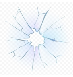 Broken transparent glass or frosted window pane on vector image