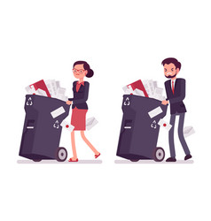 Businessman and businesswoman pushing wheeled vector
