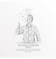 Businessman showing thumbs up form low poly wire vector