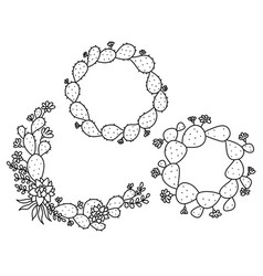 cactus floral frame hand drawn outline vector image