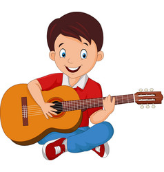 cartoon boy playing guitar vector image
