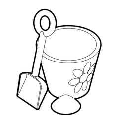 Children bucket with shovel icon outline style vector image