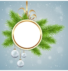 Christmas background with round banner vector