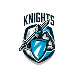 colorful logo sticker emblem of the knight in vector image