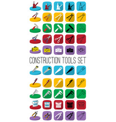 Construction tools set outline black and white vector