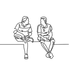 Continuous one line drawing two men sit and vector