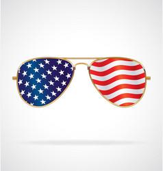 Cool gold rim aviator sunglasses with usa flag vector