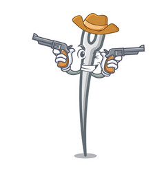 Cowboy needle character cartoon style vector