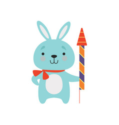 cute bunny with a party popper lovely cartoon vector image