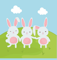 cute rabbits in the field vector image