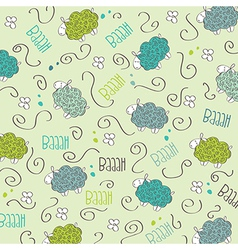 Cute seamless pattern with sheeps vector image