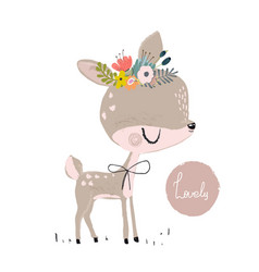 Cute summer deer vector