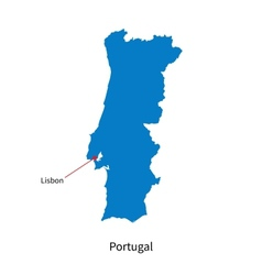 detailed map portugal and capital city lisbon vector image