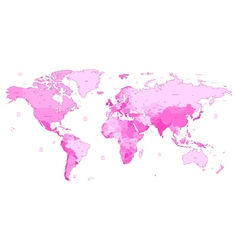 detailed world map pink colors vector image