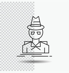 ae81871b Detective hacker incognito spy thief line icon on vector ...
