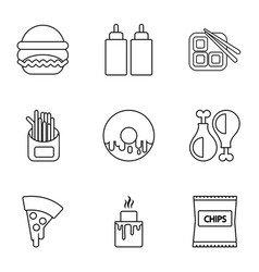different fast food icons set outline style vector image