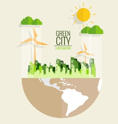Ecology concept Paper cut of globe and city vector image