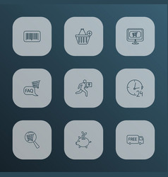 ecommerce icons line style set with 24 hour vector image
