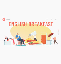 english full fry up breakfast landing page vector image